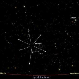 Posisi radiant hujan meteor Lyrids di dekat bintang Vega
